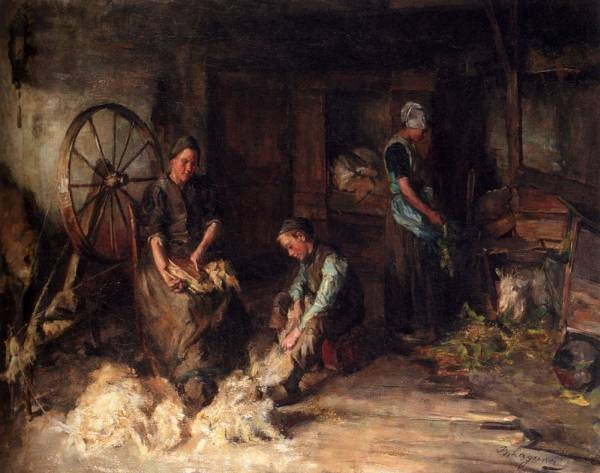 A Farm Interior With A Peasant Family
